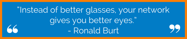 """Instead of better glasses, your network gives you better eyes."" - Ronald Burt"