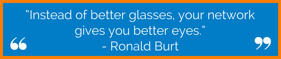"""""""Instead of better glasses, your network gives you better eyes."""" - Ronald Burt"""