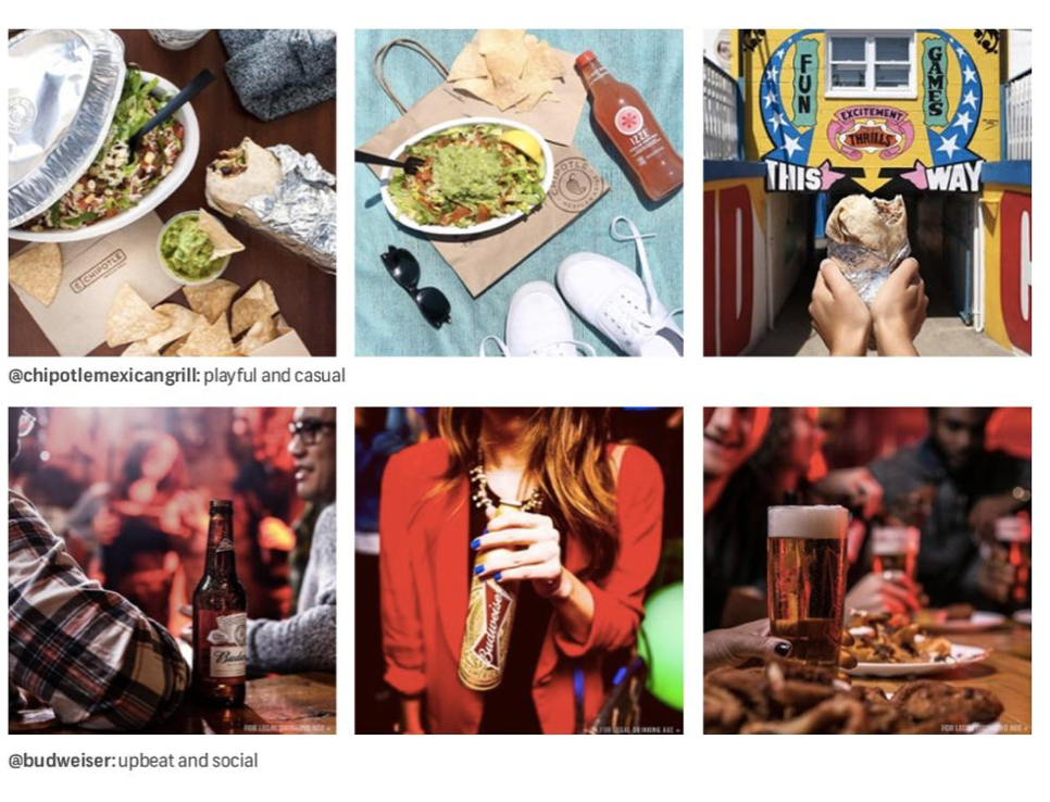 Instagram photo grid screenshot: @chipotlemexicangrill: playful and casual. @budweiser: upbeat and social