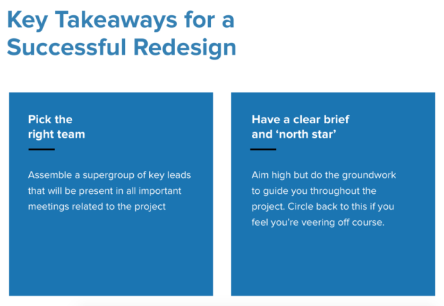 Key takeaways for website redesign