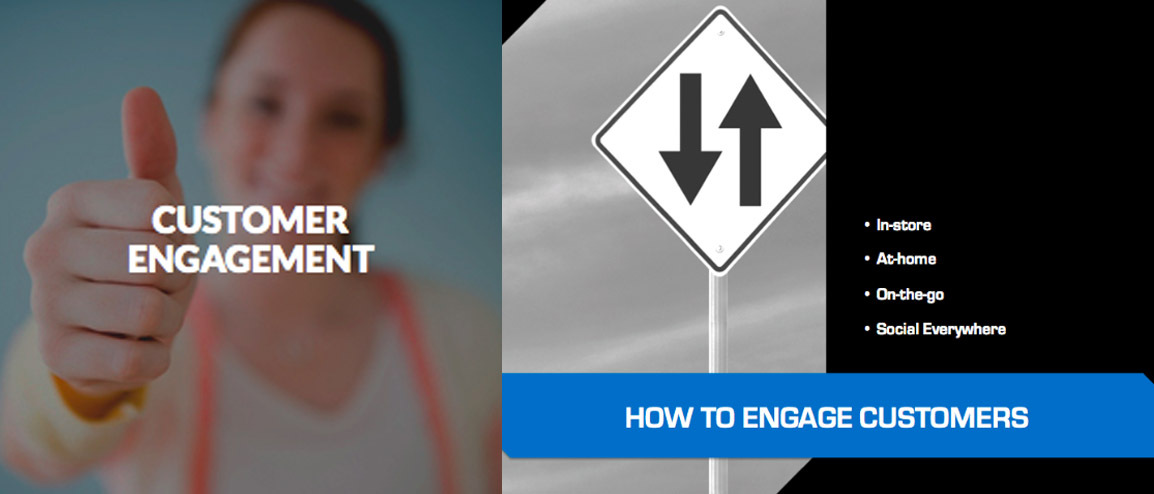 Customer Engagement. How to engage customers. In store. At home. On the go. Social Everywhere.